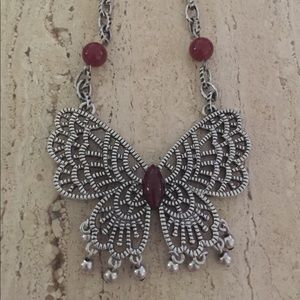 Vintage Open Work Butterfly Pendant Carnelian Bead